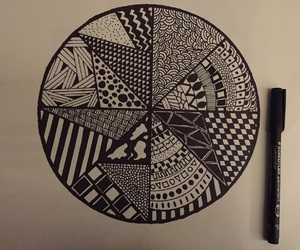 aztec, b&w, and drawing image