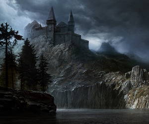 castle, art, and nature image