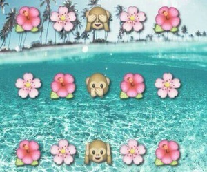 wallpaper, emoji, and flowers image