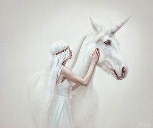 white, fantasy, and unicorn image