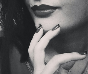 black and white, lips, and lipstick image