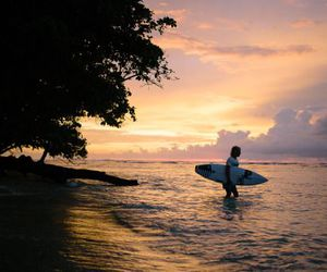 blue, sunset, and surfer image