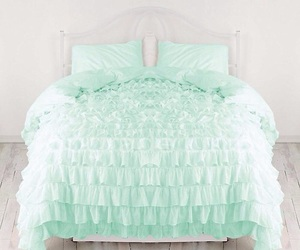 mint, bed, and bedroom image