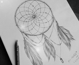 black and white, dream catcher, and drawing image