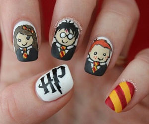 harry potter, nails, and nail art image