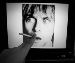 black and white, cigarette, and kurt cobain image
