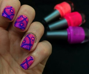 fluorescent, pink and blue, and stamping image