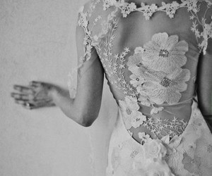 floral, lace, and wedding dress image