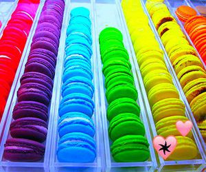food, macaroons, and rainbow image