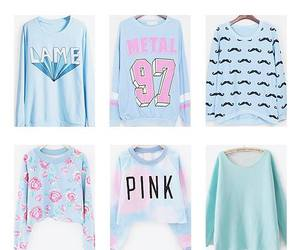 sweater, blue, and pink image