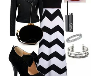 black heels, clutch, and leather jacket image
