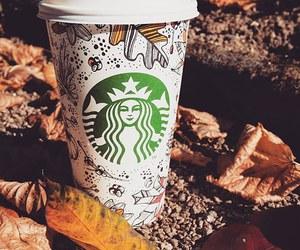 starbucks and autumn image
