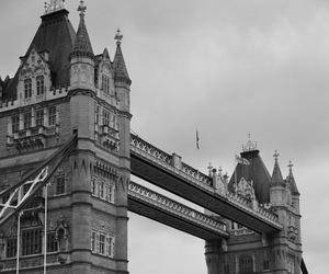 black and white, bridge, and city image