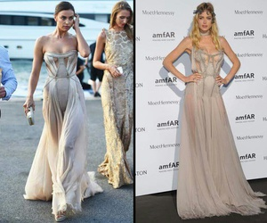 dress, long dress, and beige dress image