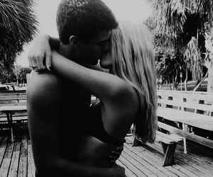 black and white, summer, and couple image