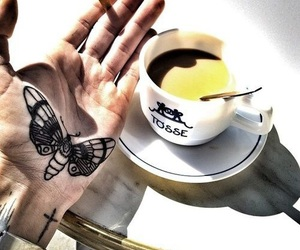 tattoo, hand, and butterfly image