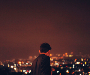 boy, lights, and night image