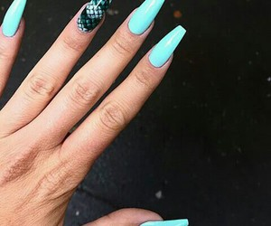 blue, long nails, and manicure image