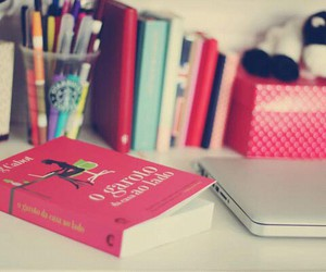 book, pink, and desk image