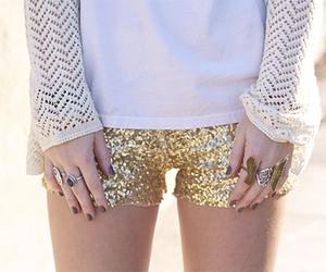 fashion, shorts, and gold image