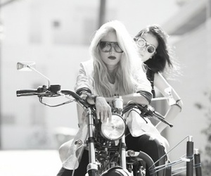 girl, motorcycle, and black and white image