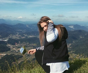 blue, girl, and clouds image