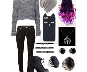 black, cat, and fashion image
