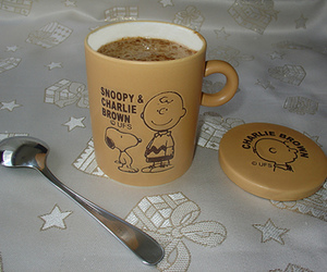 cappuccino, charlie brown, and milk image