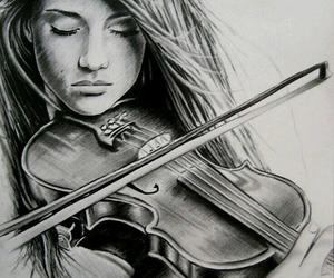 violin, girl, and music image