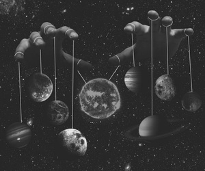 planets, hands, and grunge image