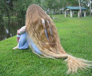 long hair, nature, and blonde image