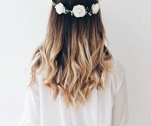 flowers, girl, and hairs image