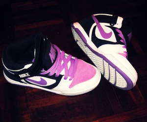 nike, purple, and snickers image