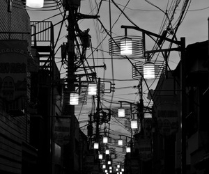 black and white, lights, and street image
