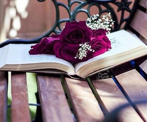 autumn, books, and flowers image