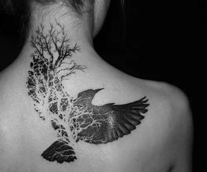 tattoo, bird, and tree image