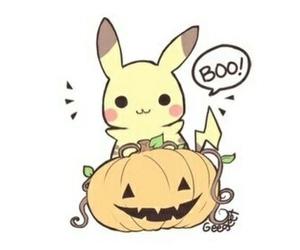 Halloween, pikachu, and pumpkin image