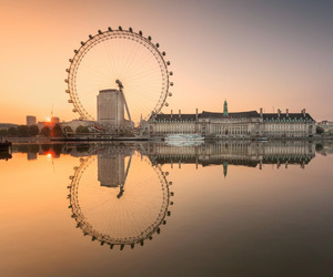 london, london eye, and reflection image