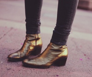 boots, Harry Styles, and gold image