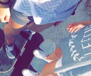 skateboard, summer, and friends image
