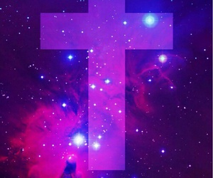 galaxy, wallpaper, and cross image