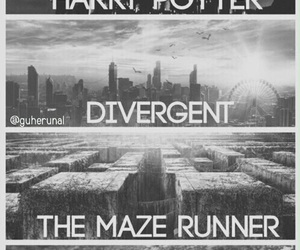harry potter, hunger games, and the maze runner image