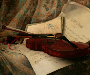 music, paint, and violin image
