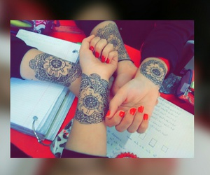 nails, tattos, and friends image
