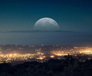 moon, city, and night image