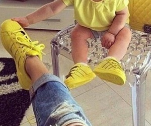 yellow, adidas, and superstar image