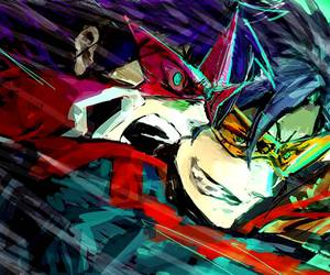 colour, glasses, and gurren lagann image