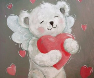 angel, teddy, and heart image