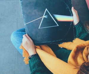 dark side of the moon, vinyl, and girl image