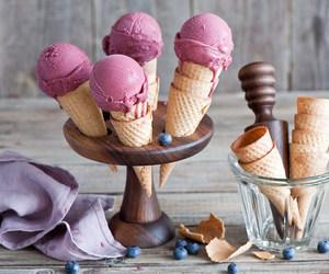 ice cream, cone, and fruit image